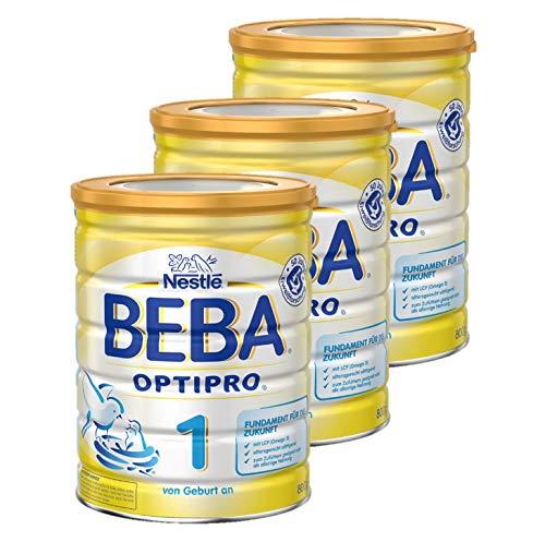 Nestlé BEBA OPTIPRO 1 Anfangsmilch, altersgerecht sättigende Baby-Milch, Milchpulver, für Säuglinge, ab Geburt, 3er Pack (3 x 800 g)