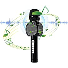 Micrófono Portátil Inalámbrico Bluetooth para KTV Karaoke WEINAS® Reproductor de Música Estéreo Compatible con Teléfonos Inteligentes Android iPhone/iPad/Smartphone/PC - Negro