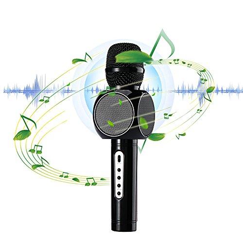 Drahtlos Mikrofon Bluetooth Dual-Lautsprecher SD card Handgriff-Mic 3D Effekt tragbar für Gesang Sprache KTV Karaoke Player Kompatibel mit PC/iPad/iPod/iPhone/Android Smartphone von WEINAS Schwarz Dual-wear Bluetooth