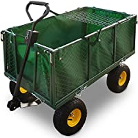 Deuba Bollerwagen | Herausnehmbare Plane | bis 544kg belastbar - Handwagen Transportkarre Gartenkarre Gartenwagen Transportwagen