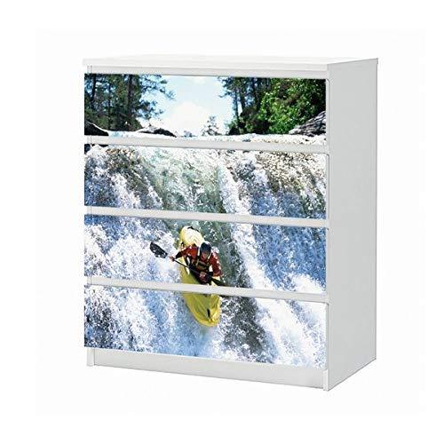 Wasserfall Schublade (Set Möbelaufkleber für Ikea Kommode MALM 4 Fächer/Schubladen Sport Wasser Wasserfall Wassersport Berg Boot Rudeln Aufkleber Möbelfolie sticker (Ohne Möbel) Folie 25B1531)