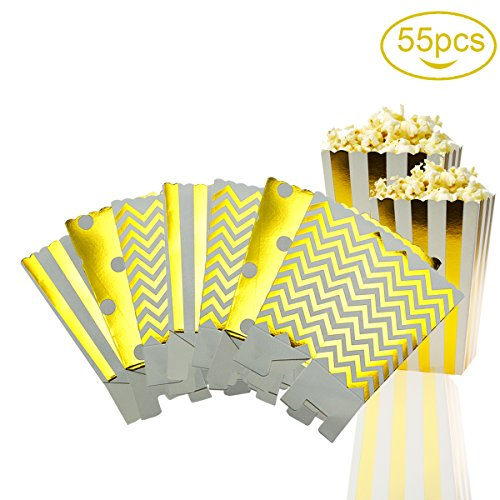 Omont 55 Stück Popcorn-Boxen/ Pappe Party Candy Container/ Zufällig Muster/ 12*7 CM/ Golden (55 Pcs) (Kino-stil Popcorn Wanne)