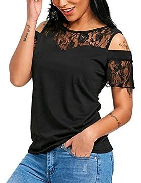 Koly Mujer Camisetas y tops Blusas y camisas encaje malla Perspectiva hueco hacia fuera de cuello redondo manga...
