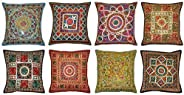 Indian Handmade Cotton Cushion Cover Decor Vintage Pillow Covers, Decorative Sofa Cover 16 X 16 Inches 10 Pcs Lot By Sophia Art (Multi)