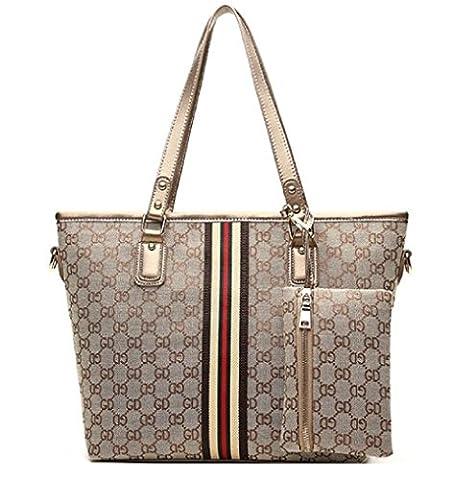 GetThatBag® Indigo Monogram Print Shoulder Bag Shopper Handbag with Matching Purse (Brown-Gold)
