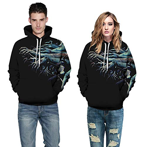 TWBB Damen Herren Halloween Paare Hoodies Slim Fit 3D Digital Bedruckte Kapuzenpullover Langarm Fashion Graphic Mantel Outwear Sweatjacke