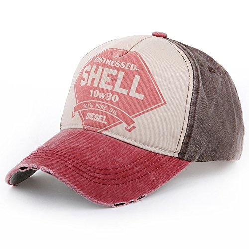Distressed Vintage Shell Gas Trucker Cap im Used Look rot