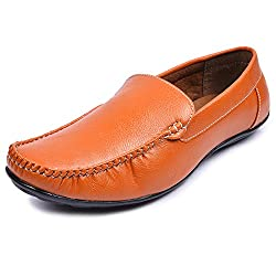 Andrew Scott Mens Tan Synthetic Leather Loafers Size 6