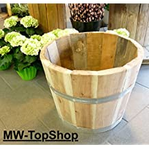Sehr stabiles Hartholz Eichen-Holz - Fass hoch ø40cm, Blumentopf, Blumenkübel, Holzfass als Pflanzkübel - Weinfass, Bottich, Holzkübel oder Miniteich Holzfass halbiert (Durchmesser 40cm)