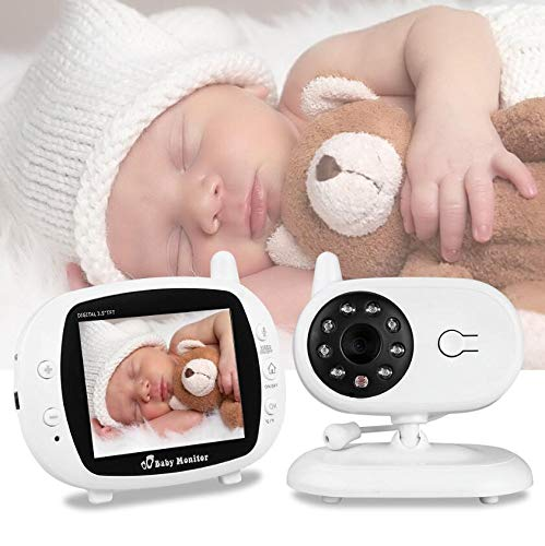 Berceuse de vision nocturne portative pour moniteur de bébé sans fil, surveillance de la température par vision nocturne et système d'interphone bidirectionnel, écran LCD de 3,5 pouces