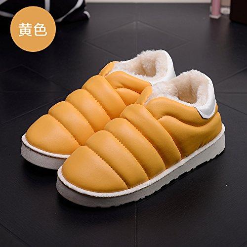 DogHaccd pantofole,Le eleganti stivali in autunno e inverno stivali impermeabili in pelle antiscivolo neve piatti caldi stivali scarpe di cotone Bianco Giallo.1