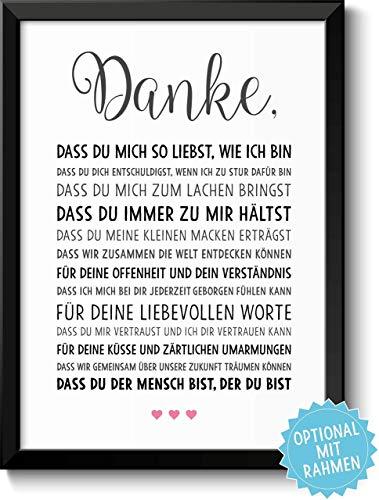 DANKE Liebe - schöne Liebeserklärung – Rahmen optional – Geschenk Geschenkidee Valentinstag Geburtstag Jahrestag Hochzeitstag Hochzeit Männer & Frauen