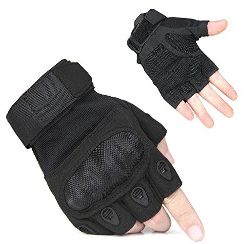 FreeMaster guanti senza dita da uomo per sport all'aperto, lavoro, campeggio, escursionismo, corsa campestre, moto e ciclismo, Uomo, Nero , XL