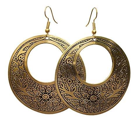 Lot de 2 boucles d'oreilles pendantes pour femmes/filles - Disques En Laiton Crochet en Doré et Noir - Motifs Botanique - Fashion Bijoux Accessoires/Cadeau pour Elle