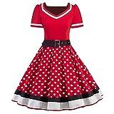 MisShow Damen Rockabilly Kleid 50er Polka Dots Petticoat Punkte Vintage Kleider Cocktailkleider Tellerrock Rot 2XL