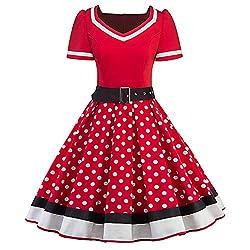 MisShow Damen elegant 50er Jahre Petticoat Kleider Gepunkte Rockabilly Kleider Cocktailkleider, Rot, XL