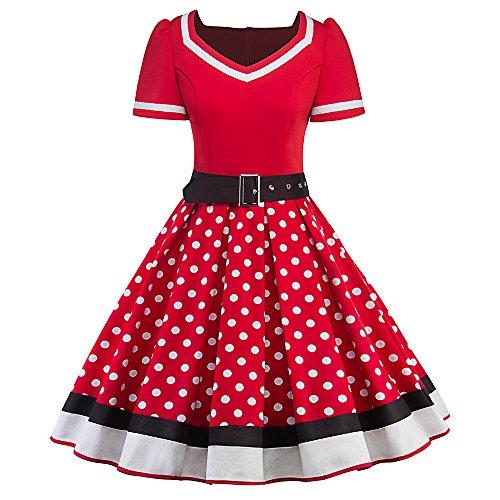 MisShow Damen elegant 50er Jahre Petticoat Kleider Gepunkte Rockabilly Kleider Cocktailkleider, Rot, - Kostüm N Mehr