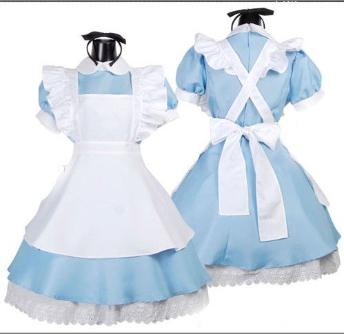 (Neu Blau Alice's Wonderland Lolita Maid Cosplay Costumes Kostüm Halloween Fancy Dress Set Apron)