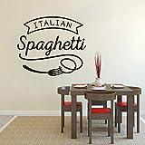Cmdyz Italienische Küche Wandaufkleber Spaghetti Vinyl Wand Fenster Aufkleber Restaurant Pasta Design Wall Poster Küche Essen Decor Größe 42 * 36 Cm