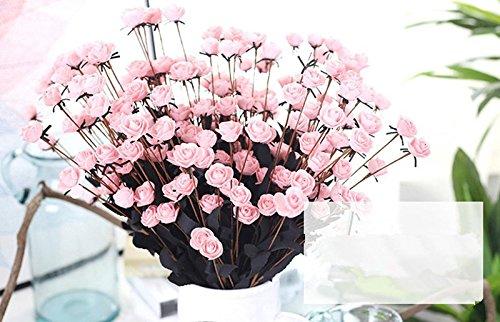 Longra Wohnaccessoires & Deko Kunstblumen Künstliche PE Kunstblumen Rose Blumen Hochzeit Bouquet Braut Hortensie Dekor (D)