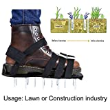 Rasenbelüfter Rasenlüfter Schuhe 5cm Lange Nägel, 4 einstellbare Riemen und starken Zink Legierungs Wölbungen Universalgröße für das Rasen Vertikutieren die alle Schuhe oder Stiefel passt