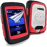 Tuff-Luv Silicone Twin Dual layer Double Protective Skin Case for Garmin Edge 520 - Black / Red
