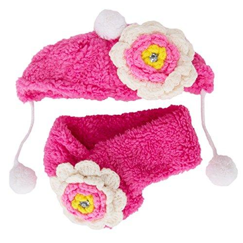 CueCue Pet flauschig Pet Blume Mütze und Schal -