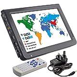 HD Tragbarer TV 10 Zoll Digital Und Analog LED TV Multimedia-Spieler Unterstützung TF-Karte/USB / Audio Auto TV DVB-T DVB-T2 Für Auto, Draussen Oder Zuhause,Black,Britishplug