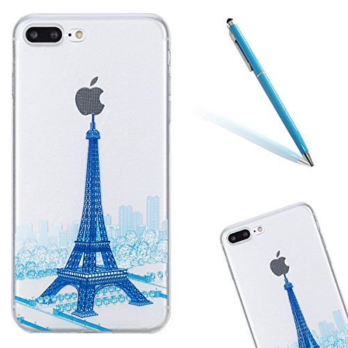 Silikon Handytasche für Apple iPhone 7 Plus (5,5 Zoll),CLTPY [Kratzfeste] [Stoßfest] Transparent Klar Malerei Muster Design TPU Bumper Case Etui für iPhone 7 Plus,Ultra Dünn Super Leicht [Perfekt Pass Blau Turm