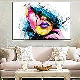 OOFAYWFD Moderne Große Wand Kunst Ölgemälde auf Leinwand Frau Gesicht Ungerahmt Room Decor,M