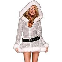 Fashion Queen esclusivo argento Fantasia Natale Costume Costume Babbo Natale Donna Sexy Miss Babbo Natale Halloween Cosplay con cappuccio Dress + cintura
