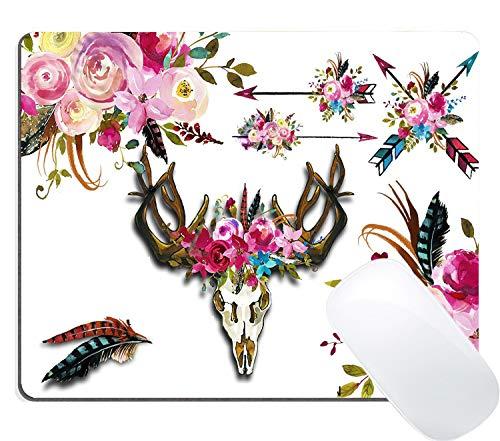 Alfombrilla de ratón para Videojuegos, diseño de Calavera de Toro con diseño de Acuarela y Flores (Plumas, Flechas)