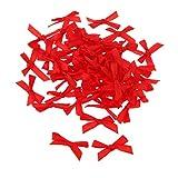 100pcs Mini 3cm Band Bowknot Schleife Band Bögen DIY Nähen Für Hochzeit Karten Geschenk-Box Verschönerung - Rot