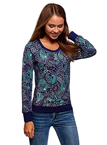 oodji Ultra Mujer Suéter Básico Estampado, Azul, ES 42 / L