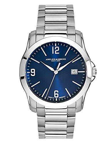 Abeler & Söhne fabricado en Alemania Reloj de hombre con correa de acero inoxidable, cristal de zafiro y fecha as3007