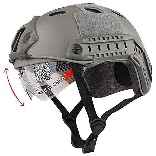 H World EU Gefechtshelm, SWAT-Stil, mit Schutzbrille für CQB  / Nahkampf, Paintball,  nachgebildete Militärausrüstung, Herren, FG (Swat Kinder Helm)