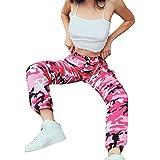 STRIR Pantalones de Mujer Camo Cargo Pantalones de Camuflaje Casual al Aire Libre Jeans (M, Rosa-roja)