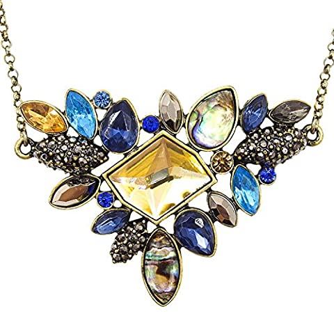 LARESDOMI Vintage Gold-tone Crystal Incrusted Created Gemstones Classic Art Deco Style Pendant