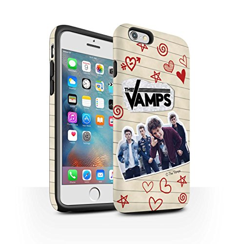 Offiziell The Vamps Hülle / Matte Harten Stoßfest Case für Apple iPhone 6S+/Plus / Pack 5Pcs Muster / The Vamps Doodle Buch Kollektion Rot Stift