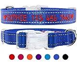 TagME Personalisierte Bestickte Reflektierend Hundehalsbänder/Benutzerdefinierte mit Name und Telefonnummer Bestickt / 4 Größe & Marineblau/Für kleine und mittlere und große Hunde