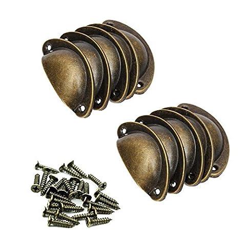 Yigo 10pcs rétro en métal tiroir de cuisine Porte d'armoire Poignée Boutons de meubles Boulon Placard Laiton antique Coque Pull Poignées