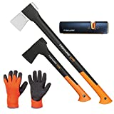 FISKARS© Set Spaltaxt X21 - L + Universalaxt X10 - S + Xsharp Axt- und Messerschärfer + Handschuhe