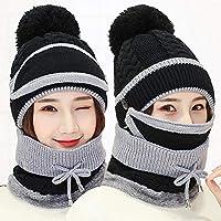 Bloomma Conjunto de Bufanda para Mujer Pom Beanie Hat Girls Cute Winter Ski Hat