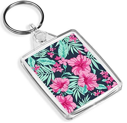 Ziel Vinyl Schlüsselanhänger Hibiscus rosa Blumen Schlüsselanhänger -IP02- Hawaii-Blumen Tropical Surf 8659