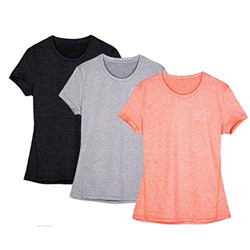 icyZone® Damen Sport T-Shirt Running Fitness Shirts Sportbekleidung Kurzarm Oberteile Shortsleeve Top XS Black/Granite/Orange