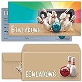 beriluDesign Bowling Einladungskarten mit Umschlägen (12er Set) Zum Kindergeburtstag Kegeln Kinder Geburtstag-Einladungen Karten Feier Party Jungen Mädchen