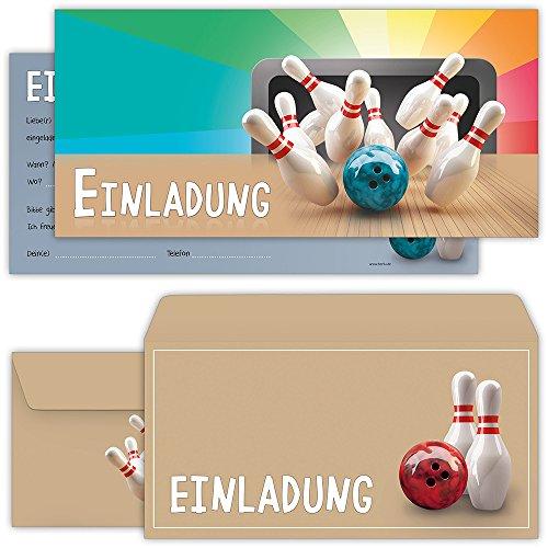 Bowling Einladungskarten mit Umschlägen (12er Set) zum Kindergeburtstag von BeriluDesign | Kegeln Kinder Geburtstag-Einladungen Karten Feier Party Jungen Mädchen (Bowling Geburtstag)