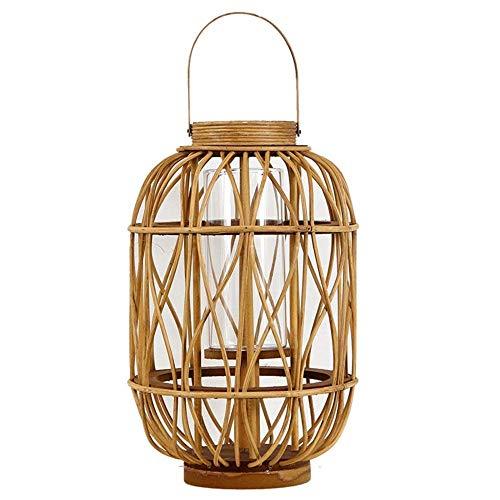 Aussenlampe Wandbeleuchtung Wandlampe Wandleuchte Innen Vintage Bambus Weben Laterne Winddicht Glas Kerzenständer Kerze Hängende Lichter Tragbar -