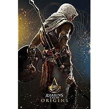 Póster Assassin's Creed Origins - Promo (61cm x 91,5cm) + 2 marcos transparentes con suspención