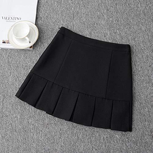 HEHEAB Rock,Schwarz Mit Hoher Taille Plissee Lolita A-Line Office Frauen Röcke Girls Denim Röcke Sailor Mini Röcke Japanische Schule Rüschen, Xs -